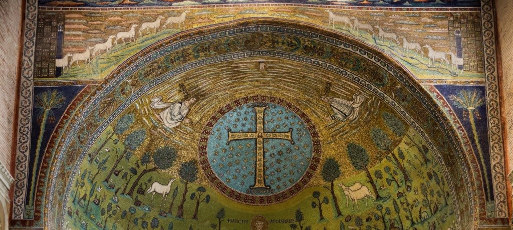 Bethlehem and Jerusalem, Sant'Apollinare in Classe apse (c. 534 AD).
