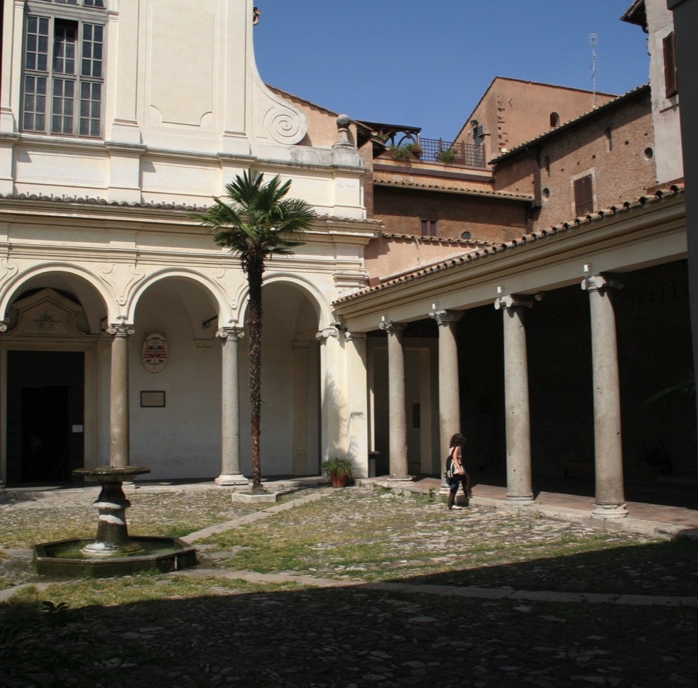 Portico with fountain, St Clement's, Rome.