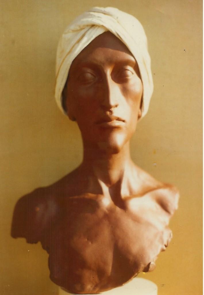 Man in a White Turban, 2. By Aidan Hart, 1982. Ceramic, plaster, fabric.