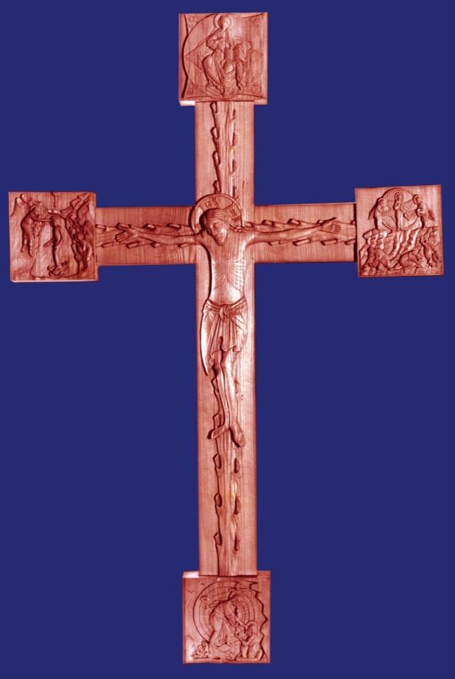 Crucifix, at St John of Kronstadt Convent, Bath, UK. By Aidan Hart, 1985. Limewood/linden.