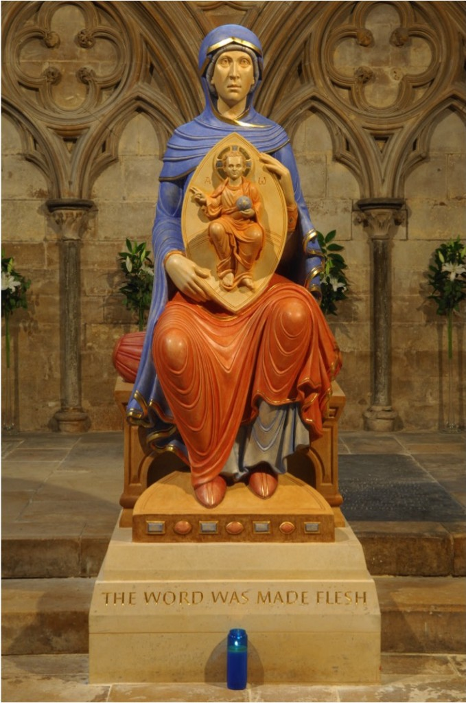 Our Lady of Lincoln. Lincoln Cathedral, UK. By Aidan Hart, 2014. Polychromed limestone carving