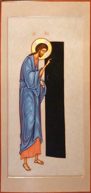 MAXIM SHESHAKOV, Christ Knocking at the Door. Egg tempera on gessoed panel.