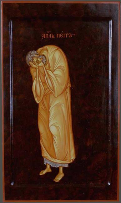 MAXIM SHESHAKOV, Peter Weeping for His Denial. Egg tempera on gessoed panel.