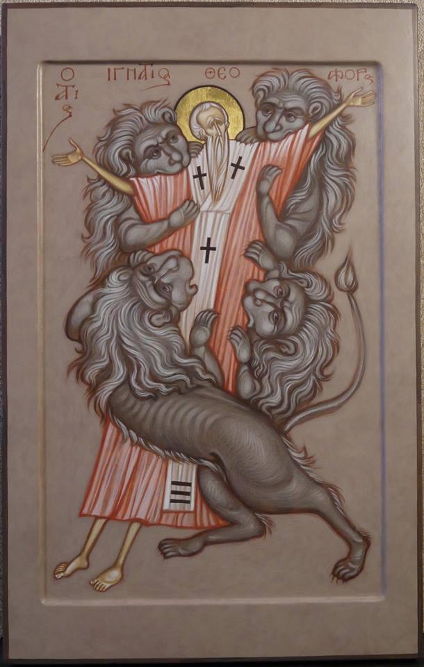 MAXIM SHESHAKOV, The Martyrdom of St. Ignatios the Godberaer. Egg tempera on gessoed panel.