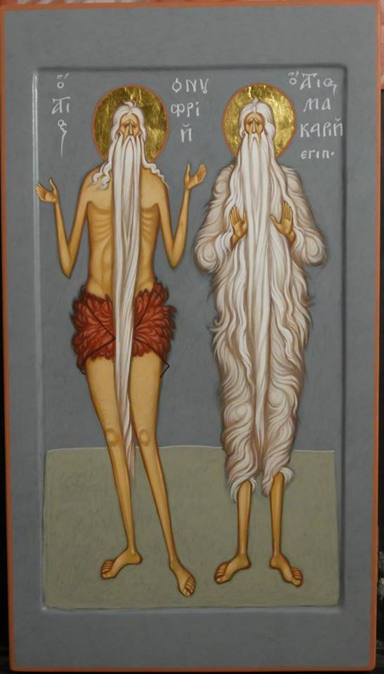 MAXIM SHESHAKOV, St. Onouphrios the Great and St. Macarios the Great. Egg tempera on gessoed panel.