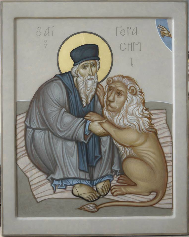 MAXIM SHESHAKOV, St. Gerasimos with Lion. Egg tempera on wood.