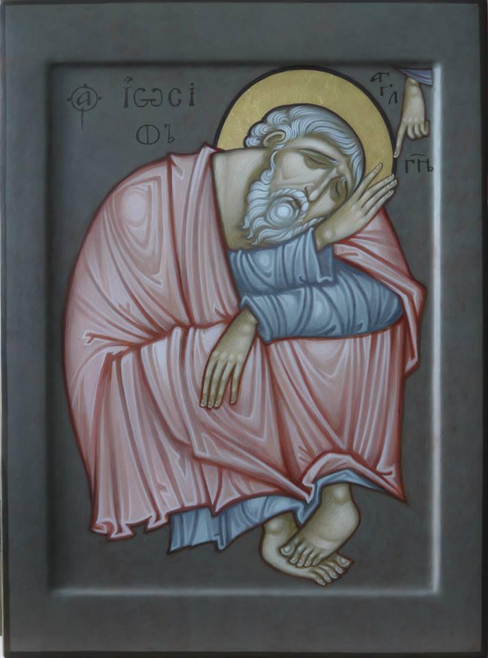 MAXIM SHESHAKOV, St. Joseph the Bethrothed Asleep. Egg tempera on gessoed panel.