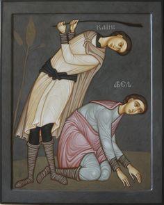 MAXIM SHESHAKOV, Cain Slaying Able. Egg tempera on gessoed panel.