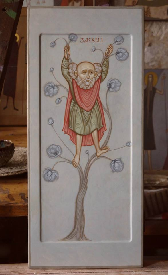 MAXIM SHESHAKOV, St. Zacchaeus Climing the Sycamore Tree. Egg tempera on gessoed panel.