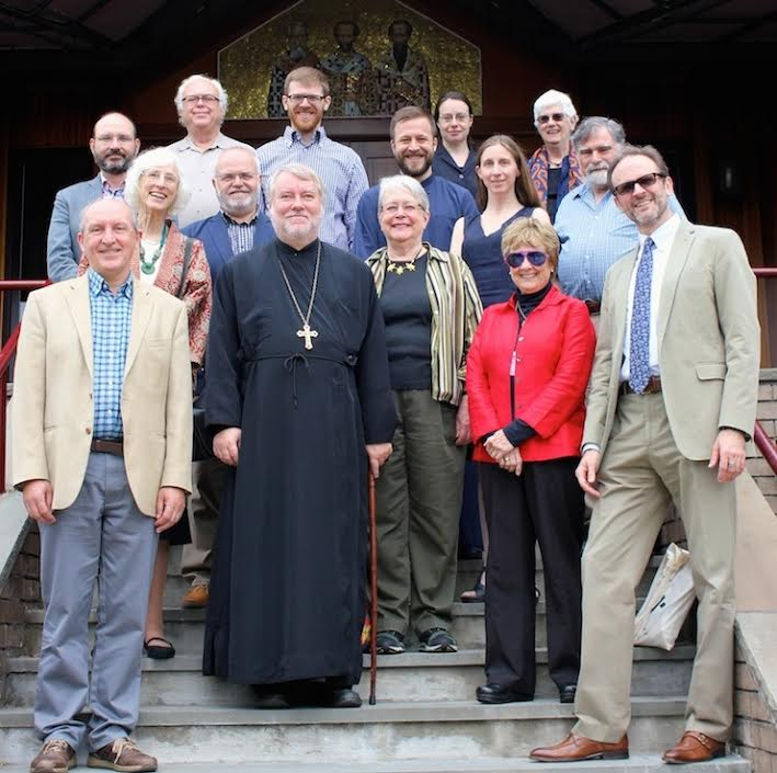 Sacred Arts Symposium participants on the steps of Three Hierarchs Chapel, St. Vladimir's Seminary (photo: Mary Honoré)