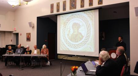 Symposium participants at the public panel discussion on the sacred arts, Saturday evening, Sep. 17. (photo: Mary Honoré)