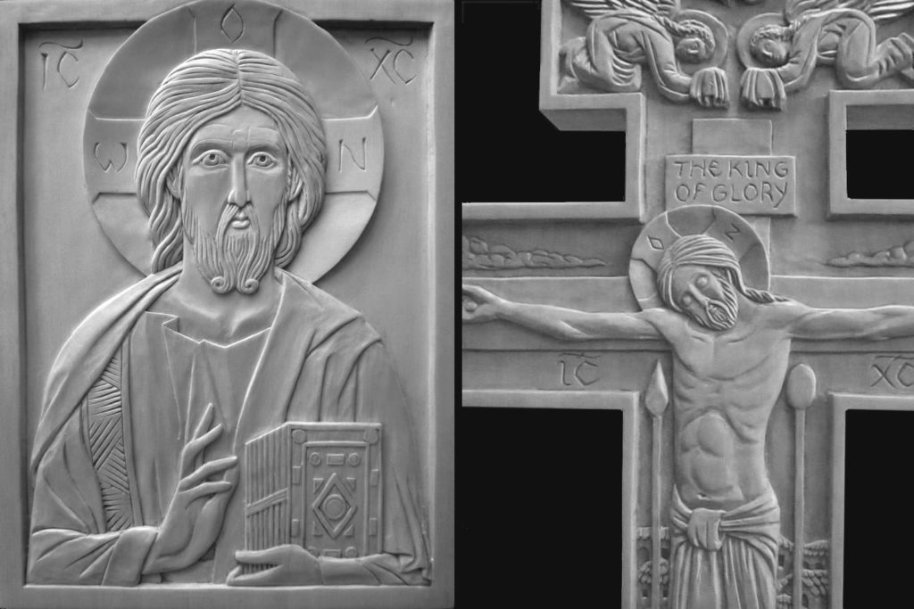 Christ pantocrator and crucifixion in wood. By the author