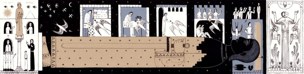 Nikola Sarić. The Happy Prince. Art print based on a fairytale by Oscar Wilde. Full format: 80×19,5 cm; fanfold format: 10×19,5 cm. 2016.