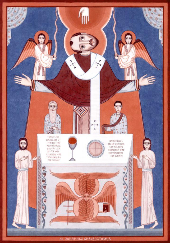 Nikola Sarić - St-John Chrysostom. From the Witness cycle. 100×70 cm, water colour on paper.