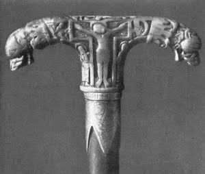 22.The inspiration for the head of the episcopal staff, an ivory Tau crozier from Koeln, Germany, about 1000AD.