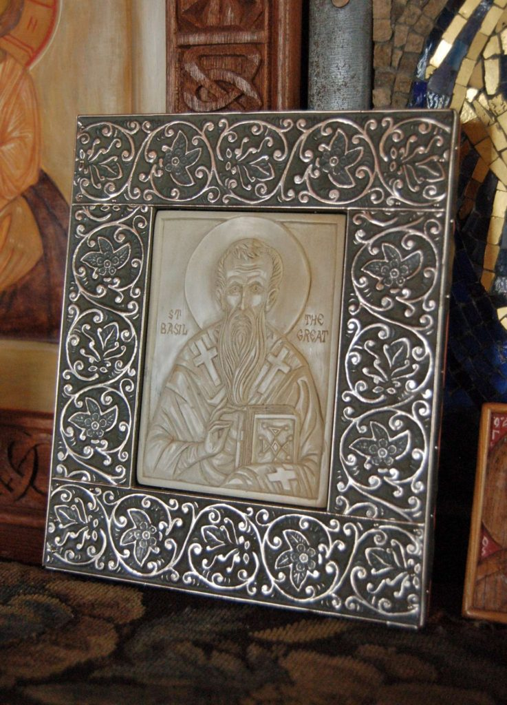 Icon of St. Basil the Great, carved by Jonathan Pageau and framed by Andrew Gould