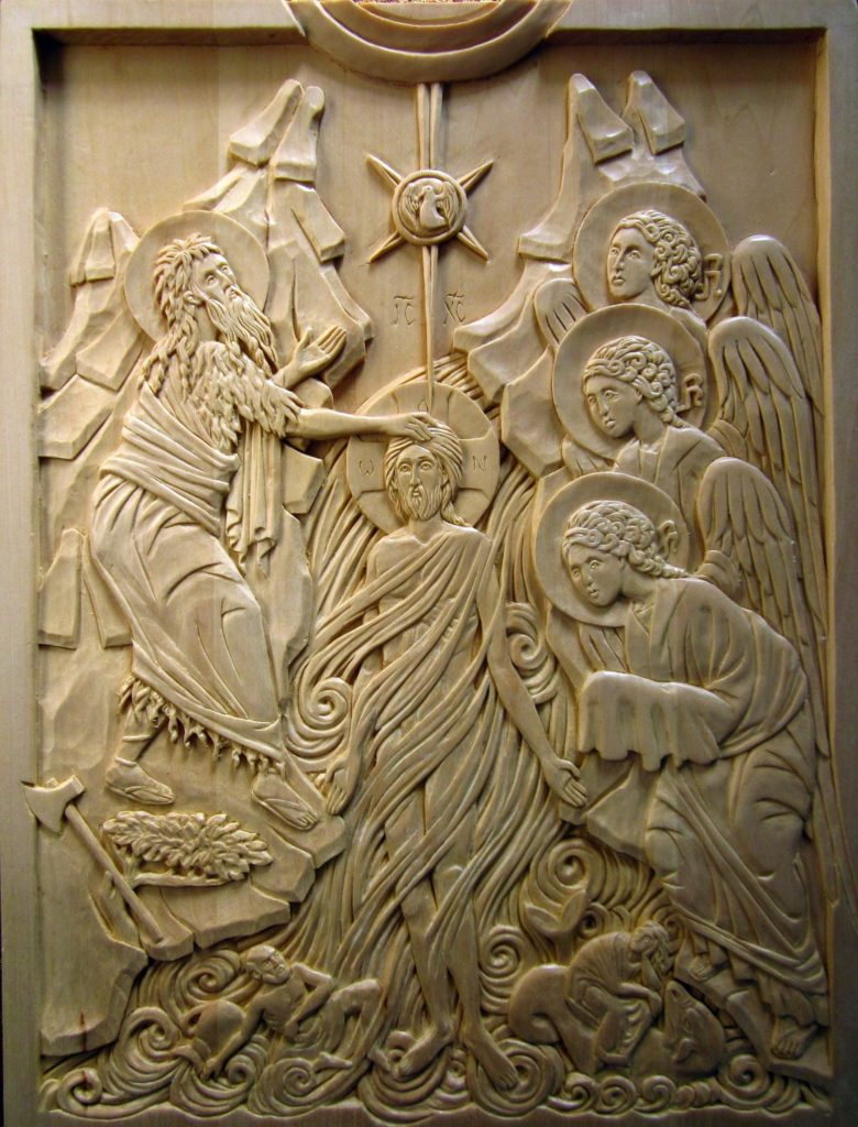 """The Baptism of Christ. Carved by the author in linden, 12"""" x 16"""""""