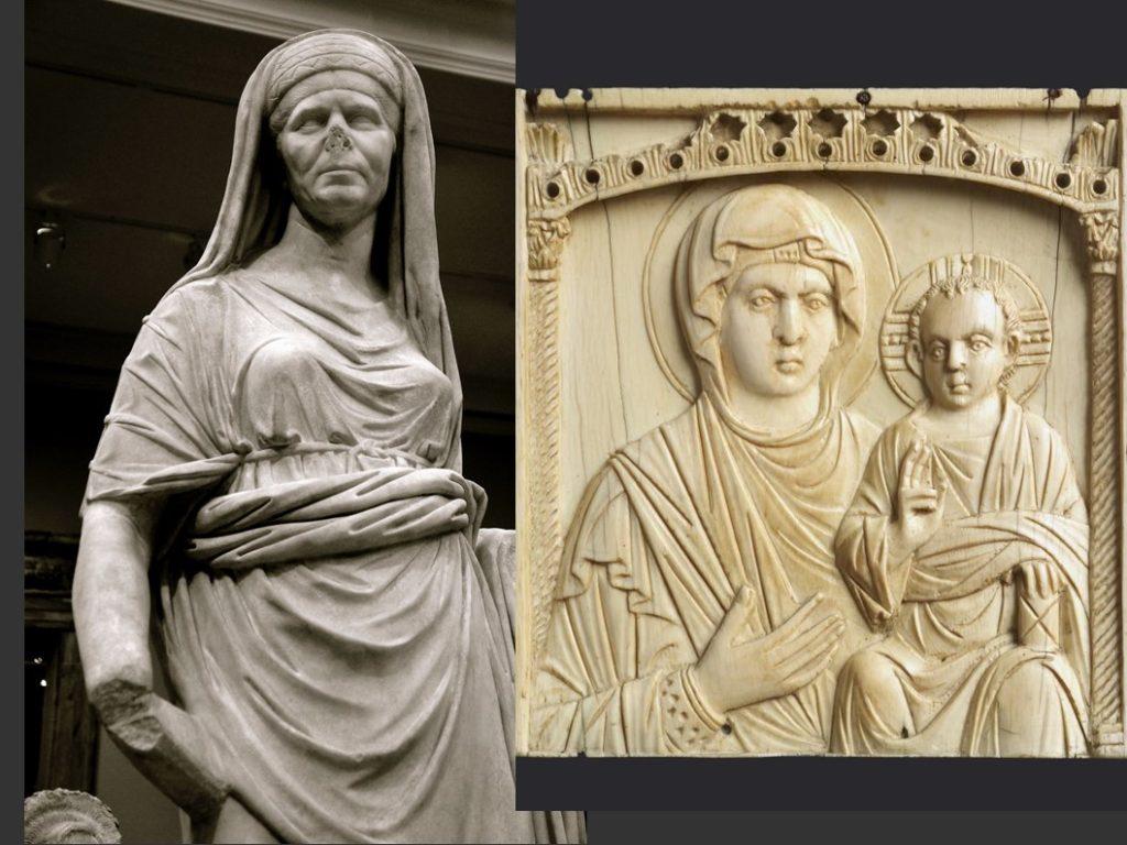 Roman statue compared to a 10th century ivory icon.