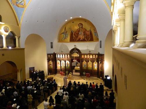 St. Nektarios Greek Orthodox Church in Charlotte with antiphonal Digital Chant Stands.