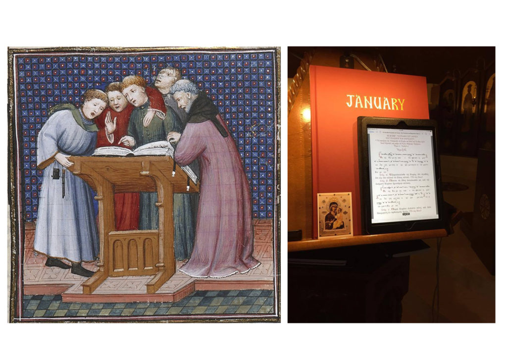 Medieval cantors standing around a large choir book, contrasted with a tablet on an analogion.