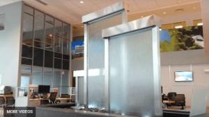Glass Water Walls Custom Waterfall Feature in Lobby