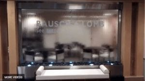 Custom Water Wall with Etched Logo Glass Water Walls Any Size