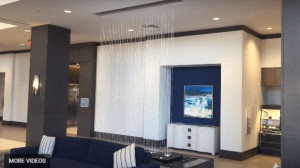Rain Curtain Water Feature Lobby Water Wall at Embassy Suites Houston Woodlands Texas