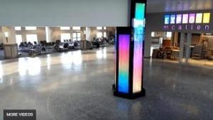 Custom Water Feature Column at McAllen Miller International Airport Bubble Walls