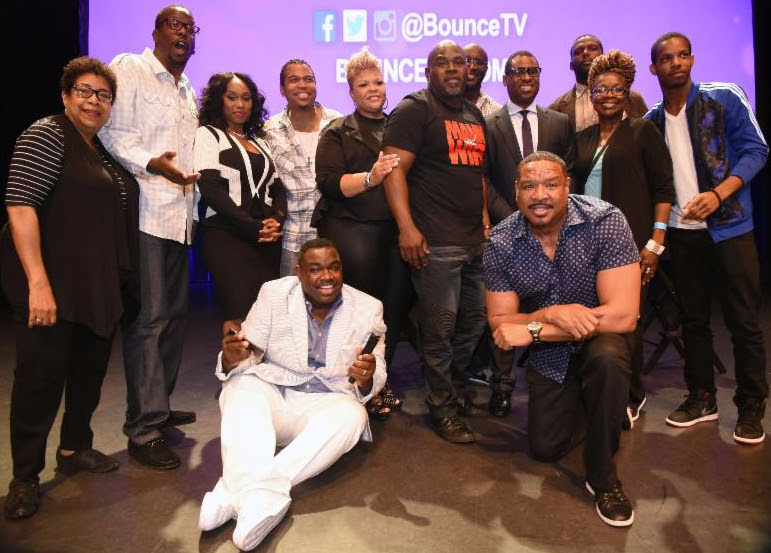 (L to R): Deidre McDonald, Executive Producer Bentley Kyle Evans, Family Time's Angell Conwell and Omar Gooding, Mann & Wife's Tamela and David Mann, Ryan Glover, VP of Original Programming at Bounce TV, Ri-Karlo Handy, Kathleen Bertrand, Demetrius Bridges and Comedian Rodney Perry pose following the screening of the new seasons of the Bounce TV shows Mann & Wife and Family Time at Georgia World Congress Center.